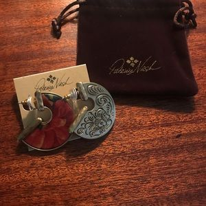 Patricia Nash Amelia Leather Inset Earrings NEW